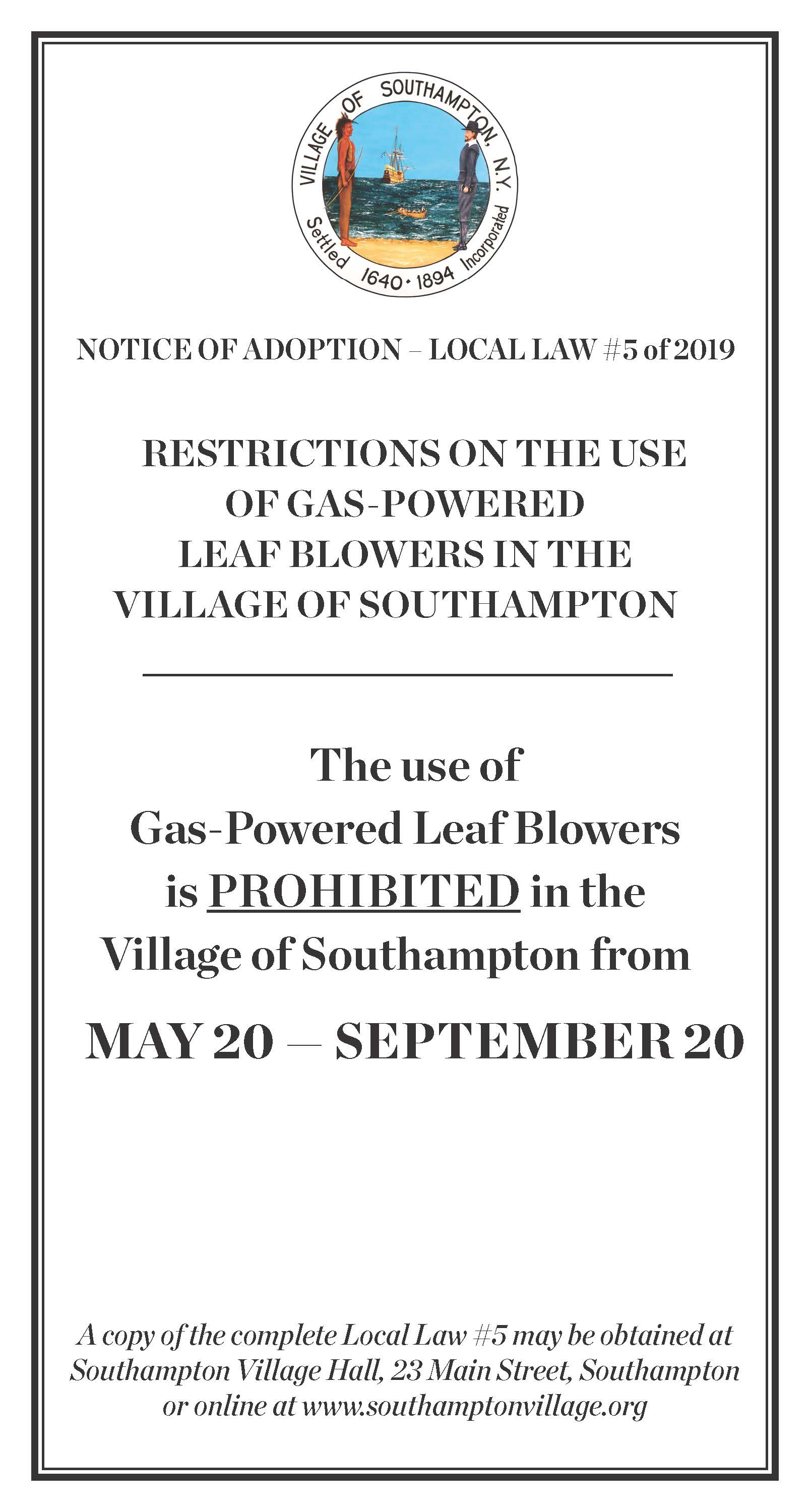 Image of Gas powered leaf blower ban -English
