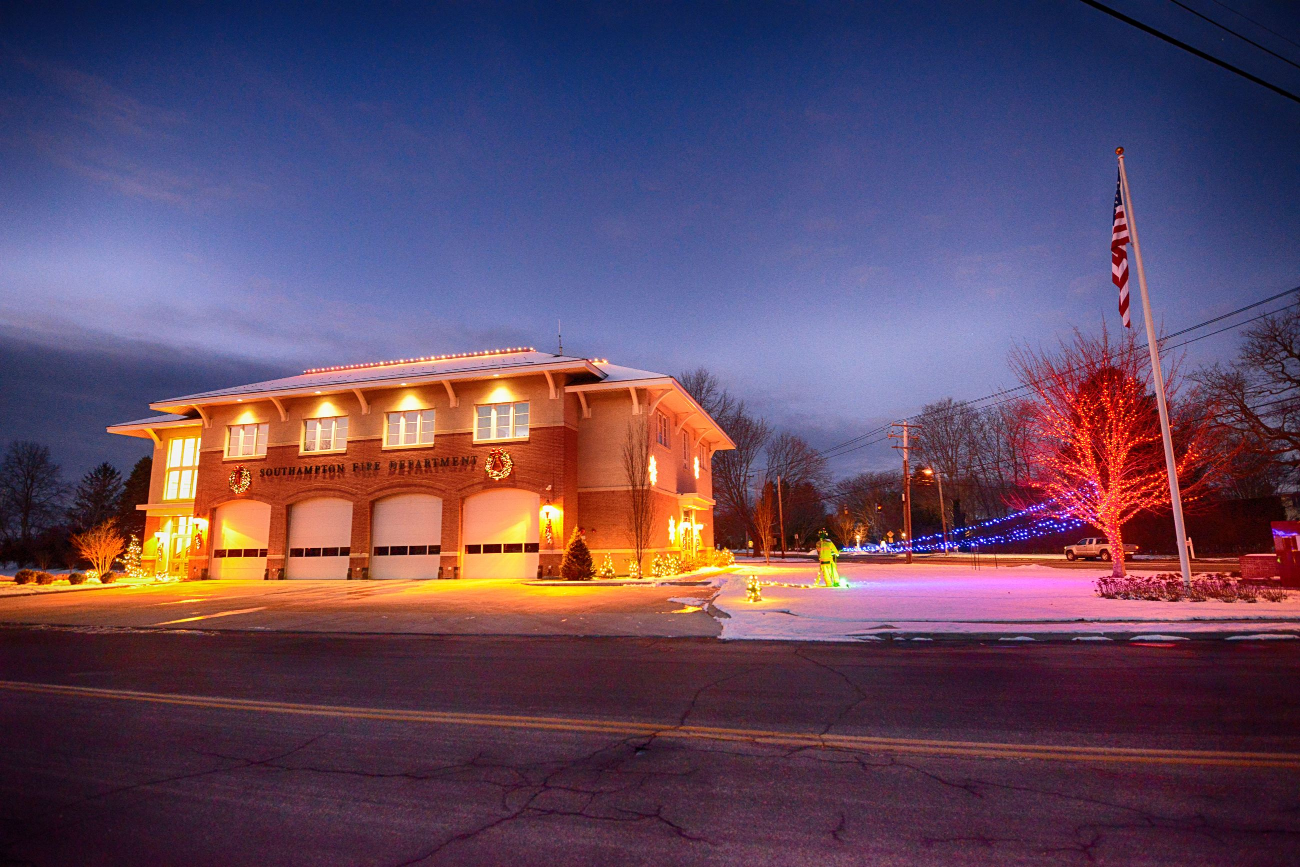 Image of Hampton Road Firehouse during the holidays